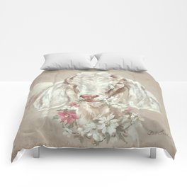 Goat with Floral Wreath by Debi Coules Comforters
