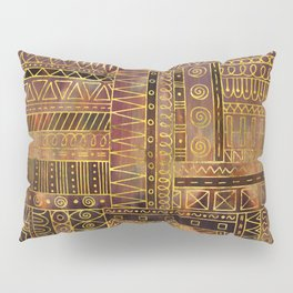 Tribal  Ethnic Boho Pattern gold and brown Pillow Sham