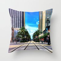 new orleans Throw Pillows featuring New Orleans by Resistance