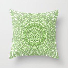 Olive Lime Green Mandala Detailed Ethnic Tribal Pattern Throw Pillow