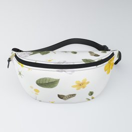 Yellow Flowers & White Roses 6 Fanny Pack