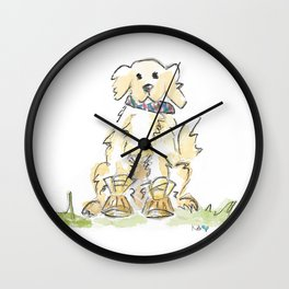 Preppy & Plaid Retriever Wall Clock