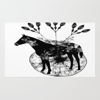 bleach Area & Throw Rugs featuring Black and white horse and the flowers by JBLITTLEMONSTERS