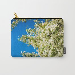 Macro shot of bird cherry blossom over blue sky Carry-All Pouch
