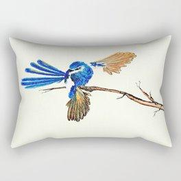 Dancing Blue Fairy Wren Australian Bird Rectangular Pillow