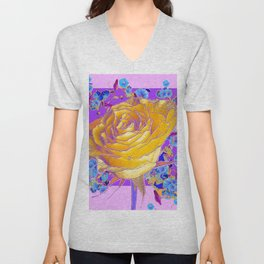 YELLOW ART ROSE FLOWERS  PURPLE-PINK DESIGN Unisex V-Neck