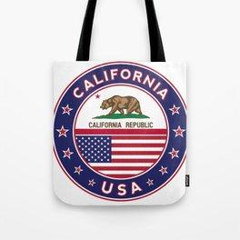 California, California t-shirt, California sticker, circle, California flag, white bg Tote Bag