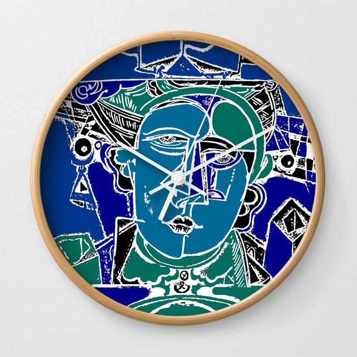 Blue Seaman Wall Clock By Originalvanart Society6