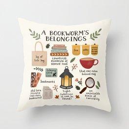 A Bookworm's Belongings Throw Pillow
