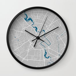 Minsk city map grey colour Wall Clock