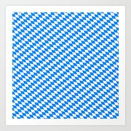 Bavarian Blue and White Diamond Flag Pattern Art Print
