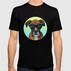 Hipster Boxer dog Black Mens Fitted Tee MEDIUM