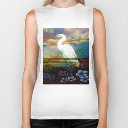 Egret In The Wilderness By Annie Zeno Biker Tank