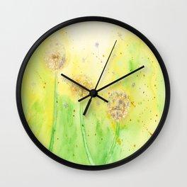 Dandelion / Summer - Art Watercolor Painting print by Suisai Genki Wall Clock