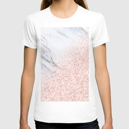 She Sparkles Rose Gold Pink Marble Luxe Geometric T-shirt