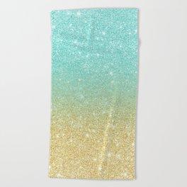 Modern robbin egg blue glitter ombre gold glitter Beach Towel