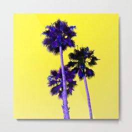 Yellow Neon Palms Metal Print