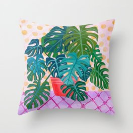 Split Leaf Philodendron Houseplant Painting Throw Pillow