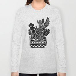 Botanical Pot Block Print Long Sleeve T-shirt
