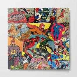 Comic Book Collage Metal Print