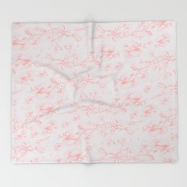Red & Grey pohutukawa pattern Throw Blanket