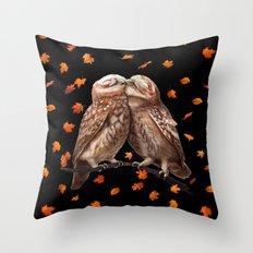 Autumn owls on black Throw Pillow