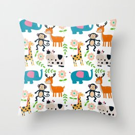 Cute cartoon animals and flowers pattern Throw Pillow