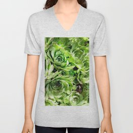 GREEN HENS N' CHICKS SEDUMS-SUCCULENTS Unisex V-Neck