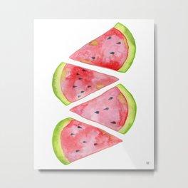 Watercolor Watermelon Slices Metal Print