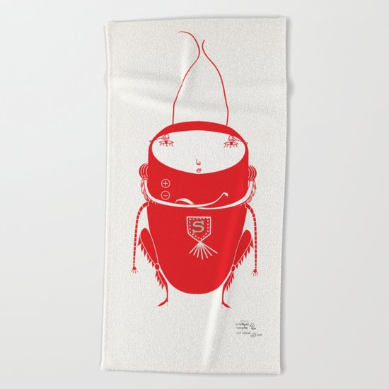 Red cricket Beach Towel