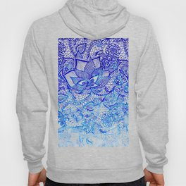 Modern china blue ombre watercolor floral lace hand drawn illustration Hoody