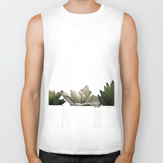 Lovely green cactus - cacti in white pots on a white background Biker Tank