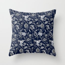 Blue Floral - 5 Throw Pillow