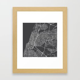 Tel Aviv Map, Israel - Gray Framed Art Print