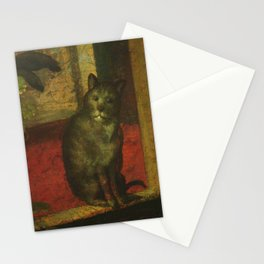 Cat in the art – Aertsen – vegetable and fruit stand- detail Stationery Cards