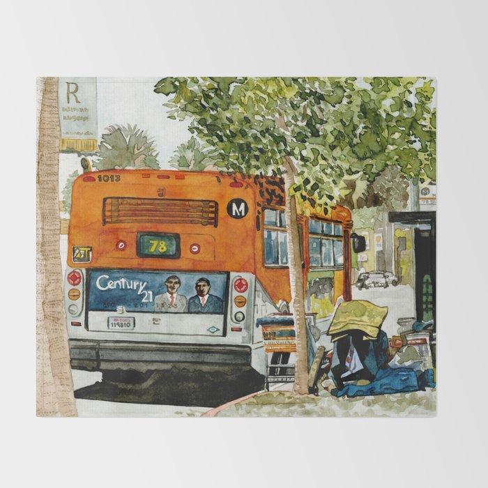 Homeless Series 5 ~ Sunset Blvd., Los Angeles, CA. Throw Blanket