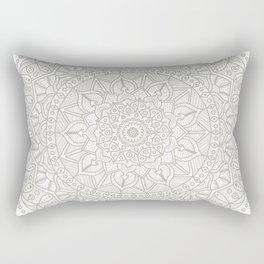 Gray Circle of Life Mandala on White Rectangular Pillow