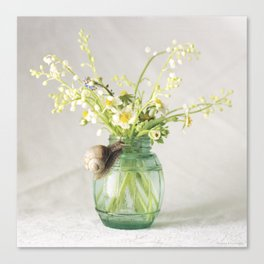 Spring bouquet with a snail - analog floral photography Canvas Print