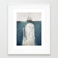 red Framed Art Prints featuring The Whale - vintage  by Terry Fan