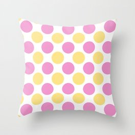 Yellow and pink polka dots Throw Pillow