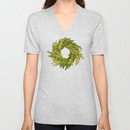 Box wood wreath round circle holiday celebrate Unisex V-Neck