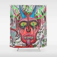 whiskey Shower Curtains featuring Whiskey Demons by Pluto00Art / Robin Brennan