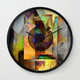 Abstract Geometric Industrial Grunge Art Wall Clock