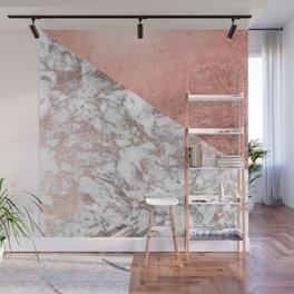 Stylish elegant white faux rose gold modern marble Wall Mural