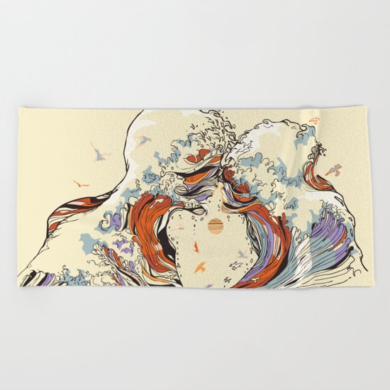 The Wave of Love Beach Towel