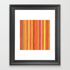 Orange and Yellow Stripes and Lines Abstract Framed Art Print