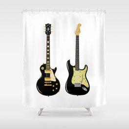 Black Guitar Duo Shower Curtain