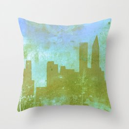 The Hawk and The Fox, town, fox, hawk, blue, white, butterfly Throw Pillow