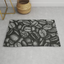 Coffee Beans Pattern Photograph Monochrome Rug