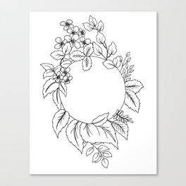 White Floral Circle Canvas Print